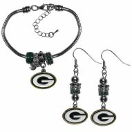 Green Bay Packers Euro Bead Earrings & Bracelet Set