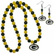 Green Bay Packers Fan Bead Earrings & Necklace Set