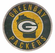 Green Bay Packers Round State Wood Sign