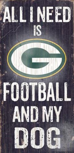 Green Bay Packers Football & Dog Wood Sign