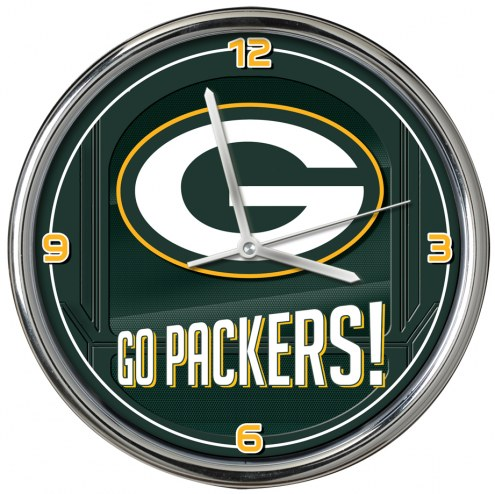 Green Bay Packers Go Team Chrome Clock