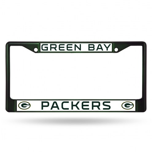Green Bay Packers Green Colored Chrome License Plate Frame