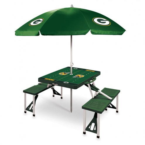 Green Bay Packers Green Picnic Table w/Umbrella