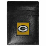 Green Bay Packers Leather Money Clip/Cardholder in Gift Box