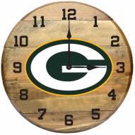 Green Bay Packers Oak Barrel Clock