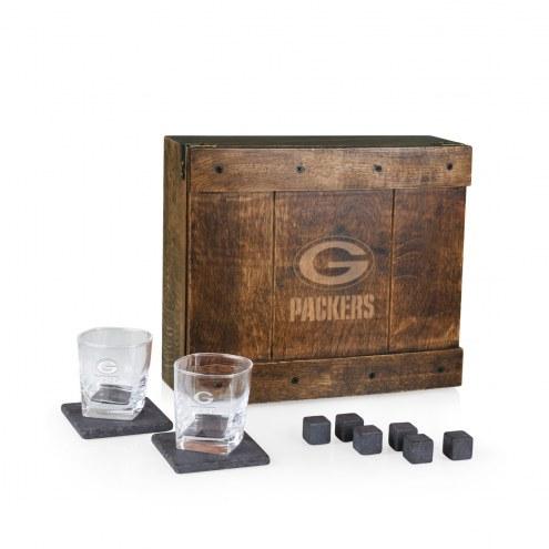 Green Bay Packers Oak Whiskey Box Gift Set