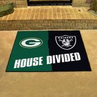 Green Bay Packers/Las Vegas Raiders House Divided Mat