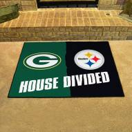 Green Bay Packers/Pittsburgh Steelers House Divided Mat