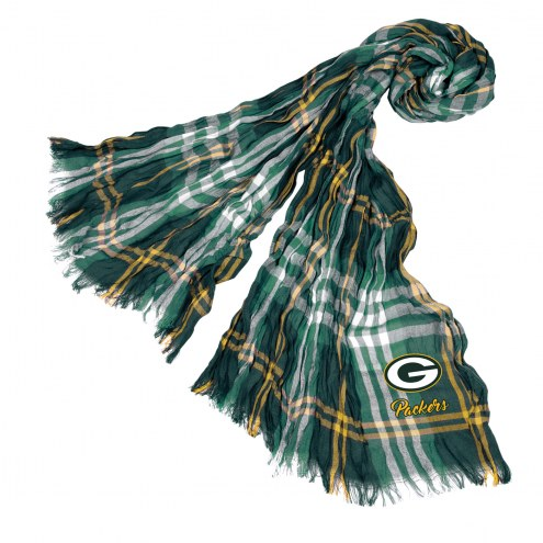 Green Bay Packers Plaid Crinkle Scarf