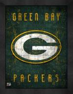 Green Bay Packers Retro Logo Map Framed Print