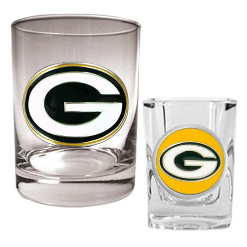 Green Bay Packers Rocks Glass & Shot Glass Set