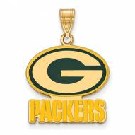 Green Bay Packers Sterling Silver Gold Plated Large Enameled Pendant