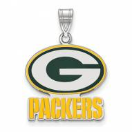 Green Bay Packers Sterling Silver Large Enameled Pendant