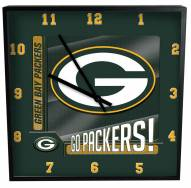 Green Bay Packers Team Black Square Clock
