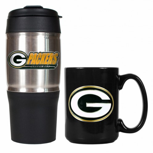 Green Bay Packers Travel Tumbler & Coffee Mug Set