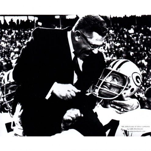 """Green Bay Packers Vince Lombardi & Jerry Kramer Signed 16"""" x 20"""" Photo"""