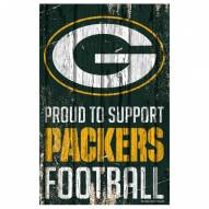 Green Bay Packers Proud to Support Wood Sign