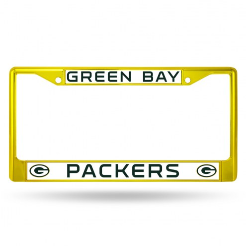 Green Bay Packers Yellow Colored Chrome License Plate Frame