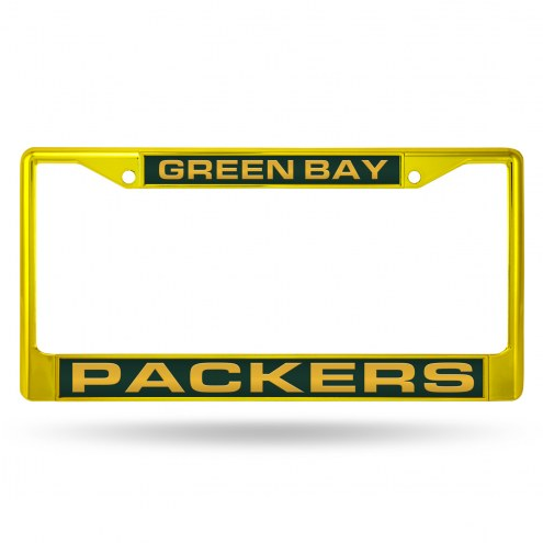 Green Bay Packers Yellow Laser Colored Chrome License Plate Frame
