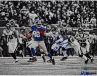 Hakeem Nicks Signed Catch and Run vs Falcons Horizontal B&W with Color Accents 8 x 10 Photo