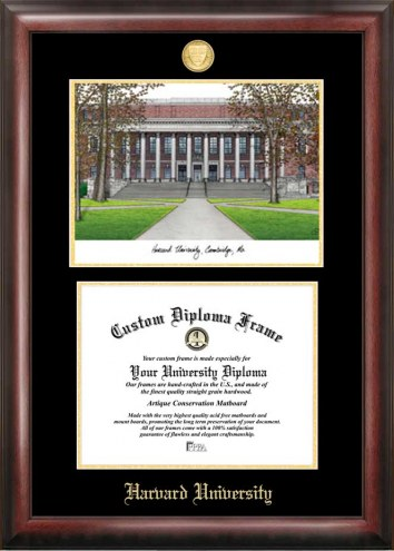 Harvard Crimson Gold Embossed Diploma Frame with Lithograph