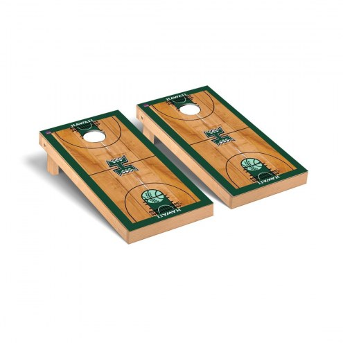 Hawaii Warriors Basketball Court Cornhole Game Set