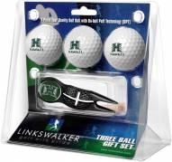 Hawaii Warriors Black Crosshair Divot Tool & 3 Golf Ball Gift Pack