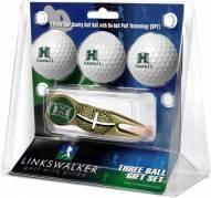 Hawaii Warriors Gold Crosshair Divot Tool & 3 Golf Ball Gift Pack