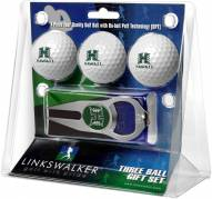 Hawaii Warriors Golf Ball Gift Pack with Hat Trick Divot Tool