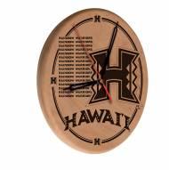 Hawaii Warriors Laser Engraved Wood Clock