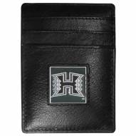 Hawaii Warriors Leather Money Clip/Cardholder in Gift Box
