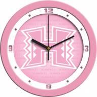 Hawaii Warriors Pink Wall Clock
