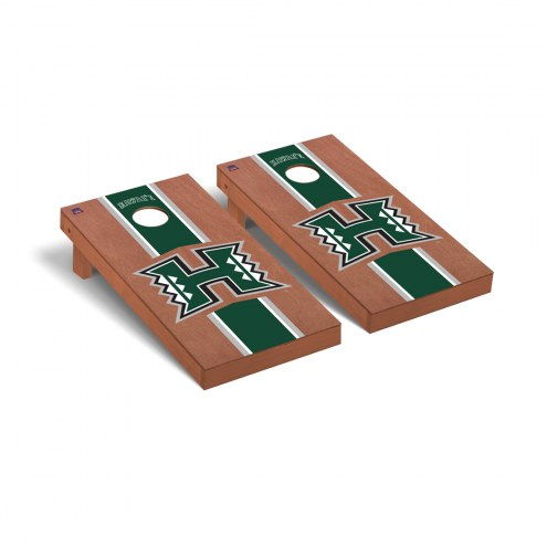 Hawaii Warriors Rosewood Stained Stripe Cornhole Game Set
