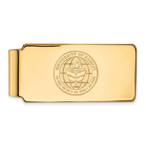 Hawaii Warriors Sterling Silver Gold Plated Crest Money Clip