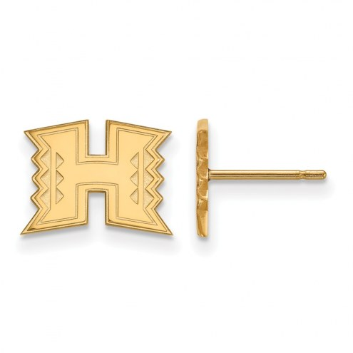 Hawaii Warriors Sterling Silver Gold Plated Extra Small Post Earrings