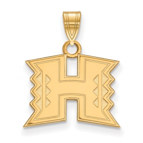 Hawaii Warriors Sterling Silver Gold Plated Small Pendant