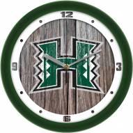 Hawaii Warriors Weathered Wood Wall Clock