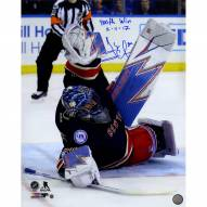 """Henrik Lundqvist Signed '400th Win Stacking The Pads' 16 x 20 Photo w/ """"400th Win 2/11/17"""" Insc"""