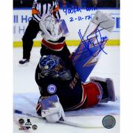 """Henrik Lundqvist Signed '400th Win Stacking The Pads' 8 x 10 Photo w/ """"400th Win 2-11-17"""" Insc."""