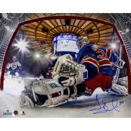 Henrik Lundqvist Signed Glove Save In Net View 16 x 20 Photo (Signed in Blue)
