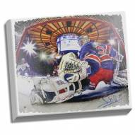 Henrik Lundqvist Signed New York Rangers In Goal Heritage 22x26 Canvas (Signed in Blue)