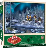 Holiday Northern Lights 500 Piece Glitter Puzzle