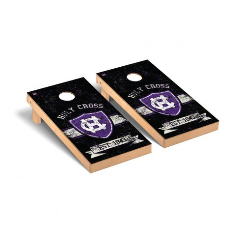Holy Cross Crusaders Banner Vintage Cornhole Game Set