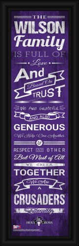 Holy Cross Crusaders Personalized Family Cheer Framed Art