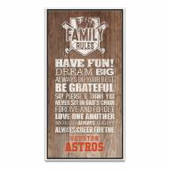 Houston Astros Family Rules Icon Wood Framed Printed Canvas