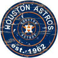 Houston Astros Distressed Round Sign