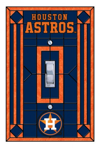 Houston Astros Glass Single Light Switch Plate Cover