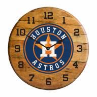 Houston Astros Oak Barrel Clock