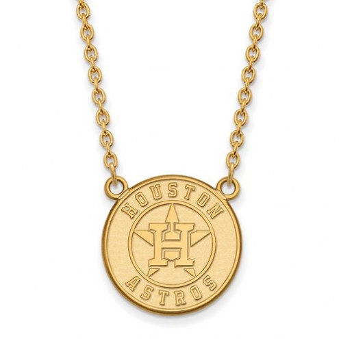 Houston Astros Sterling Silver Gold Plated Large Pendant Necklace