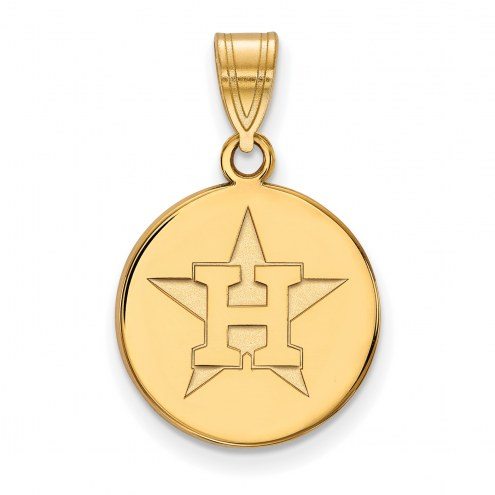 Houston Astros Sterling Silver Gold Plated Medium Disc Pendant